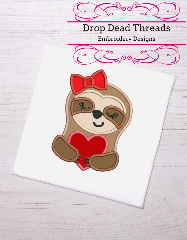 Love Heart Sloth Valentines applique embroidery design 4 sizes valentines