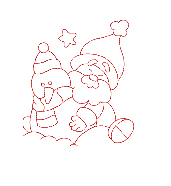 Christmas Snowman santa redwork color work linework