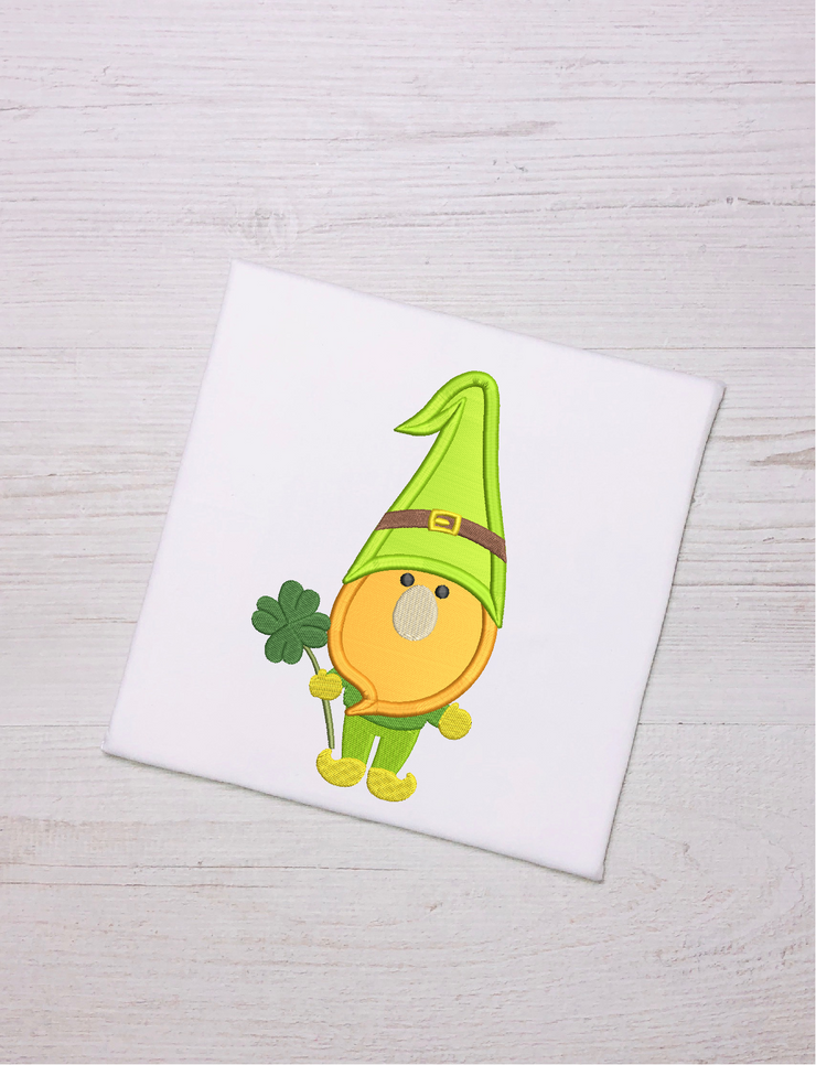St Patricks gnome clover applique embroidery design 3 sizes