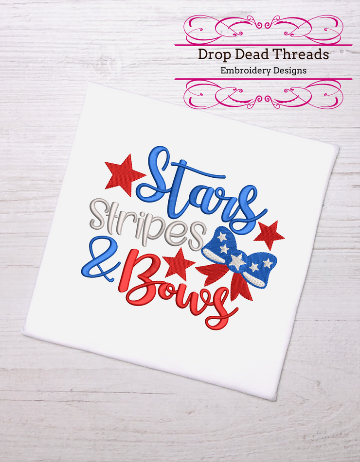 Patriotic Stars stripes & bows quote 3 sizes