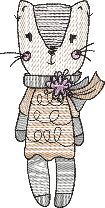 Tatty cat sketch embroidery machine design file digital download 4 sizes included female