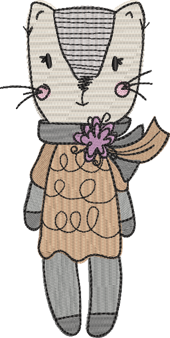 Tatty cat filled embroidery machine design file digital download 4 sizes included female
