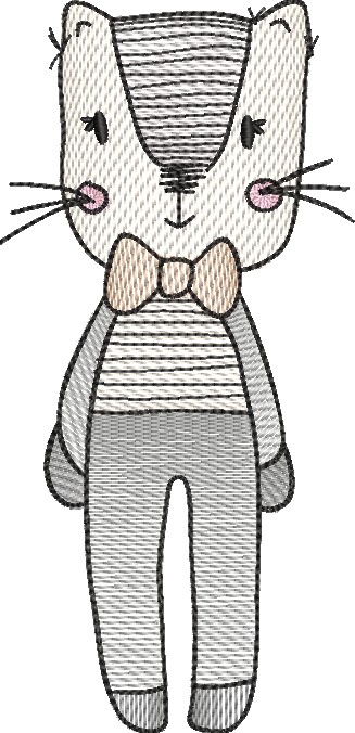 Tatty cat sketch embroidery machine design file digital download 4 sizes included male