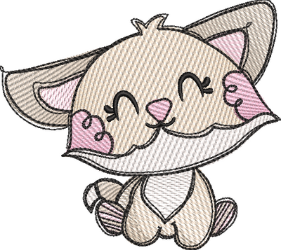 Tatty fox sketch embroidery machine design file digital download 4 sizes included 1