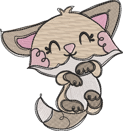 Tatty fox filled embroidery machine design file digital download 4 sizes included 2
