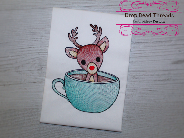 Reindeer Teacup winter christmas embroidery machine design file 3 sizes included