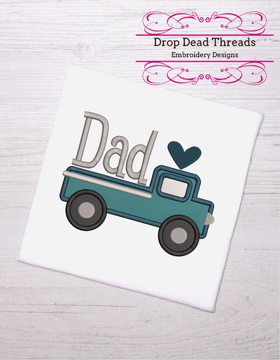 Dad fathers day truck applique 3 sizes