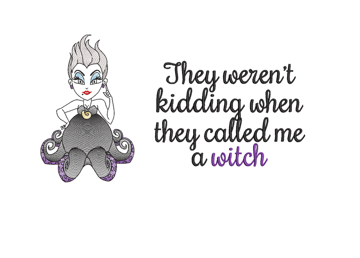 sea witch cushion book pocket pillow embroidery machine design file image and quote 3 sizes included instant download