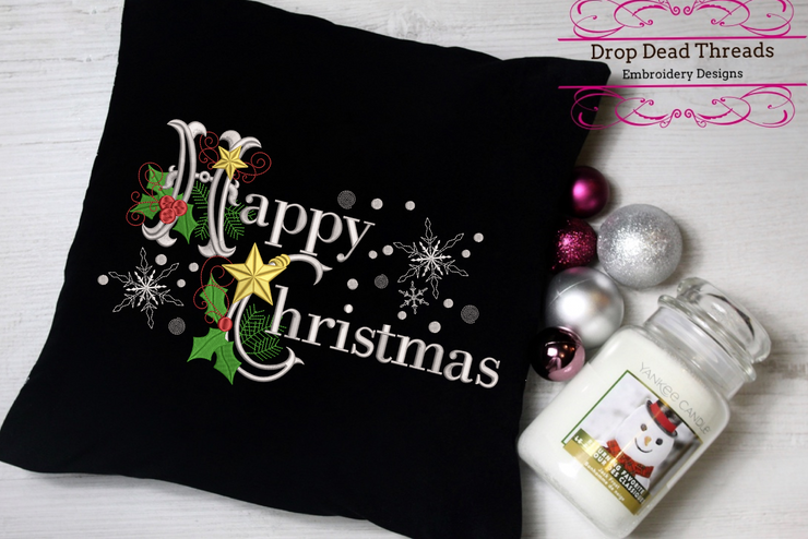 Happy Christmas word art embroidery machine design file 2 sizes included