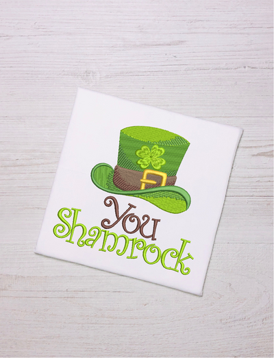 St Patricks shamrock filled embroidery design 4 sizes