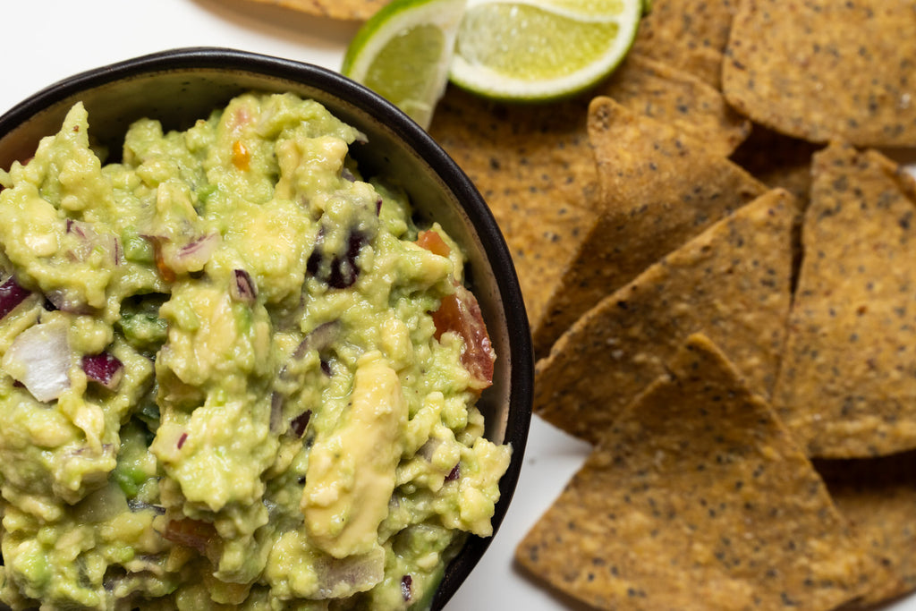 Guacamole with cricket corn chips