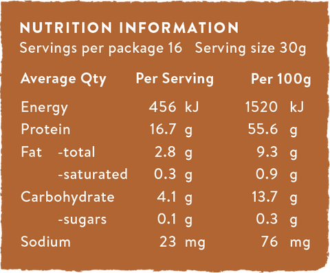 Vanilla Cricket & Hemp Protein Powder nutritional information panel