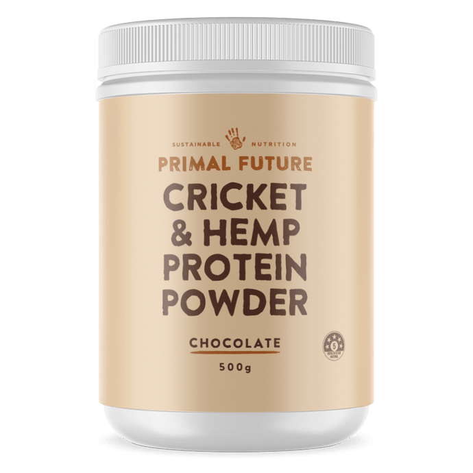 A white 500g tub of primal future Cricket & Hemp protein powder Chocolate Flavour