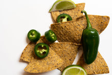Load image into Gallery viewer,  Primal Future's Cricket Corn Chips with real slices of lime and whole and sliced jalapenos