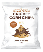 Load image into Gallery viewer, Solo Product Image of Primal Future's Cricket Corn Chips Aged Cheddar Flavour Packaging