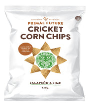 Load image into Gallery viewer, Solo Product Image of Primal Future's Cricket Corn Chips Jalapeno & LimeFlavour Packaging