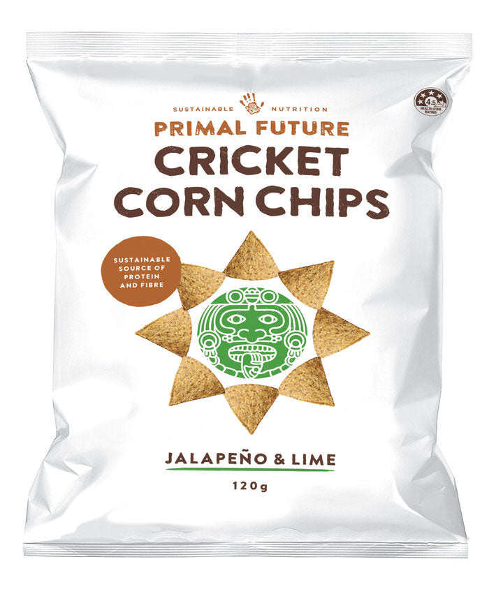 Solo Product Image of Primal Future's Cricket Corn Chips Jalapeno & LimeFlavour Packaging
