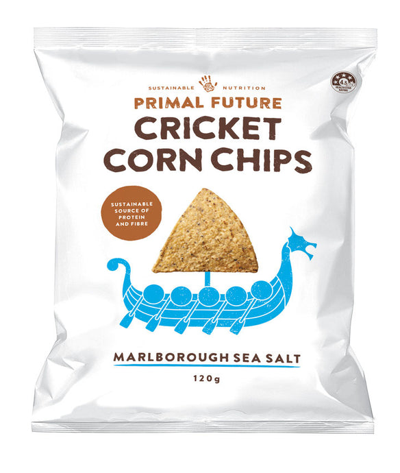 Solo Product Image of Primal Future's Cricket Corn Chips Marlborough Sea Salt Flavour Packaging