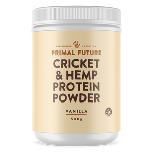 A white 500g tub of primal future Cricket & Hemp protein powder Vanilla Flavour