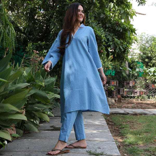 Serene Blue Cotton Kurta Set