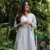 Grey Lace Cotton Kurta Set