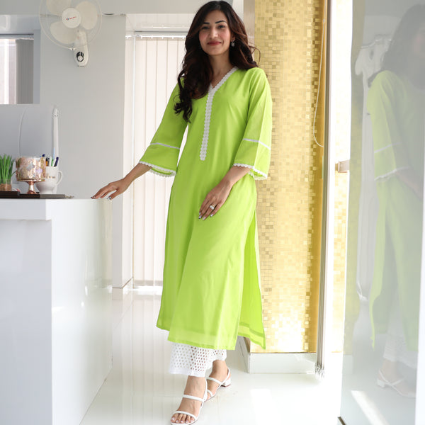 Lime Punch Cotton Kurta Set