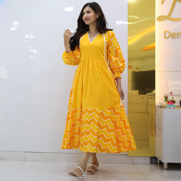 Sunny Chevron Cotton Dress