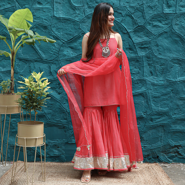 Coral Carnation Sharara Set