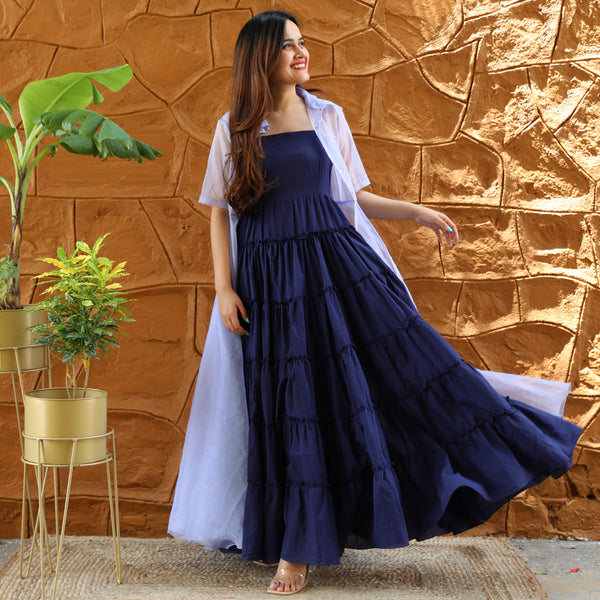Blue Organza Cape Dress