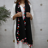black scarf with tassels
