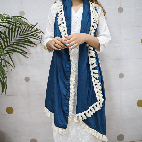 blue cotton scarf with modal satin work