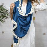 blue modal satin scarf