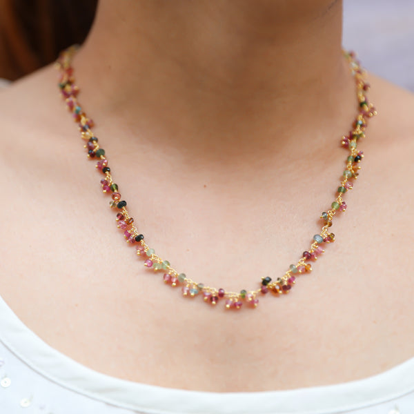 Necklace with Multi Color Tourmaline