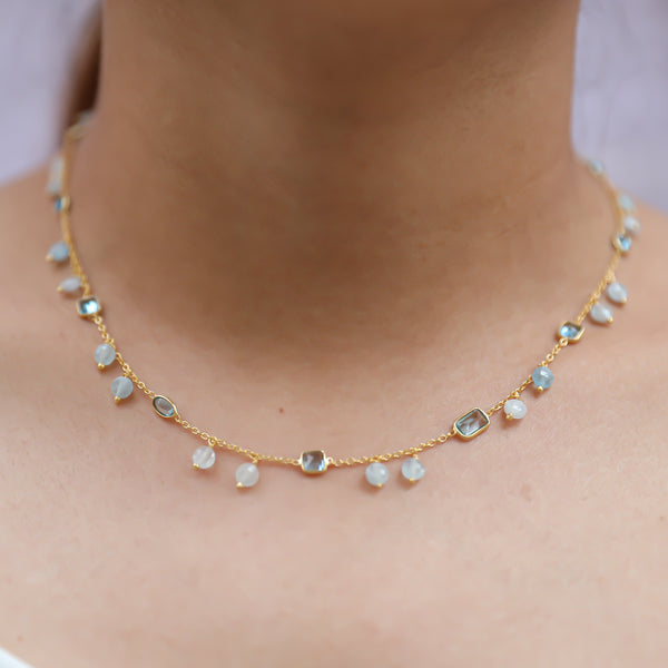Necklace with Blue Topaz Aquamarine