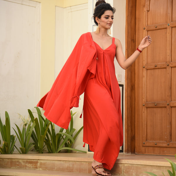 Shop Red Shrug Jumpsuit
