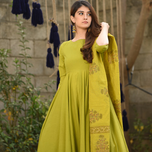 Pear Green Cotton Dress