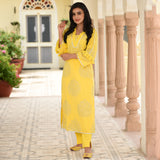 Bright Yellow Cotton Kurta Set