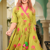 Burst Green Cotton Dress