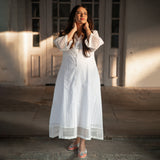 white shifli cotton maternity dress
