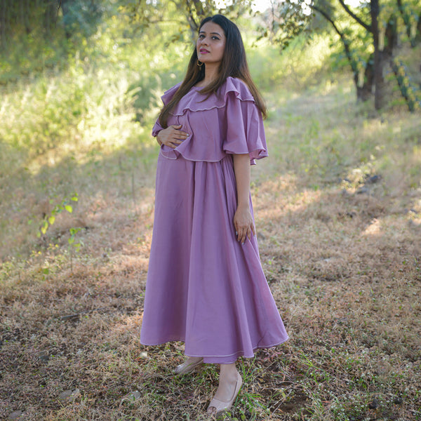 mauve cotton maternity dress ,get amazing quality mauve cotton dress online