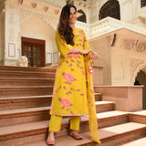buy yellow cotton suit with doriya dupatta