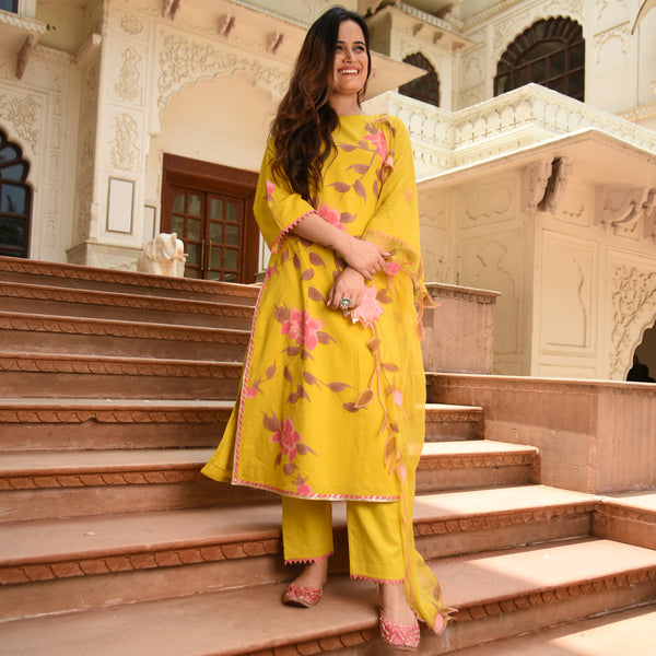 get amazing quality yellow color cotton suit online for women