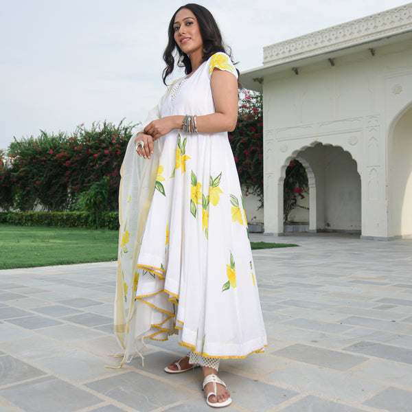 white cotton suit set for women online
