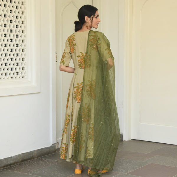 get cotton suit with organza dupatta  online