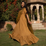 get amazing quality modal mulmul dress with attached organza dupatta