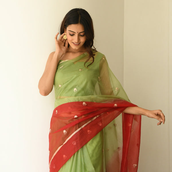 red and green organza saree online at best prices