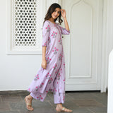 get amazing quality lavender cotton kurta set online