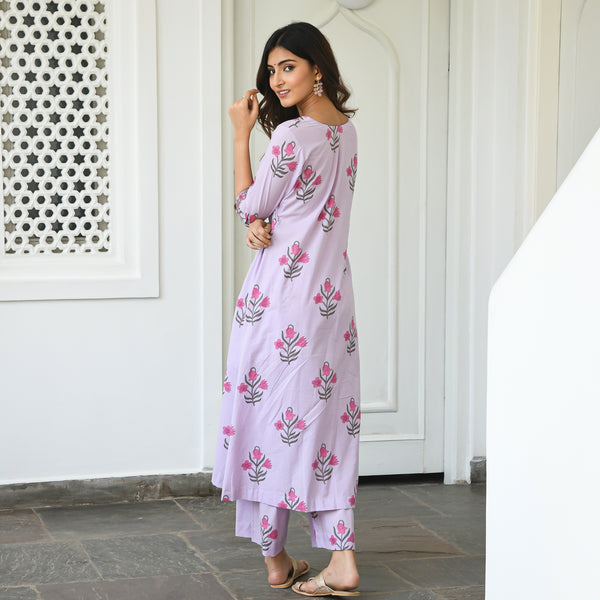 lavender floral kurta set at best prices