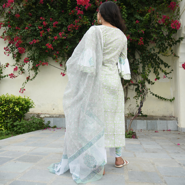 green colored cotton suit set with doriya dupatta
