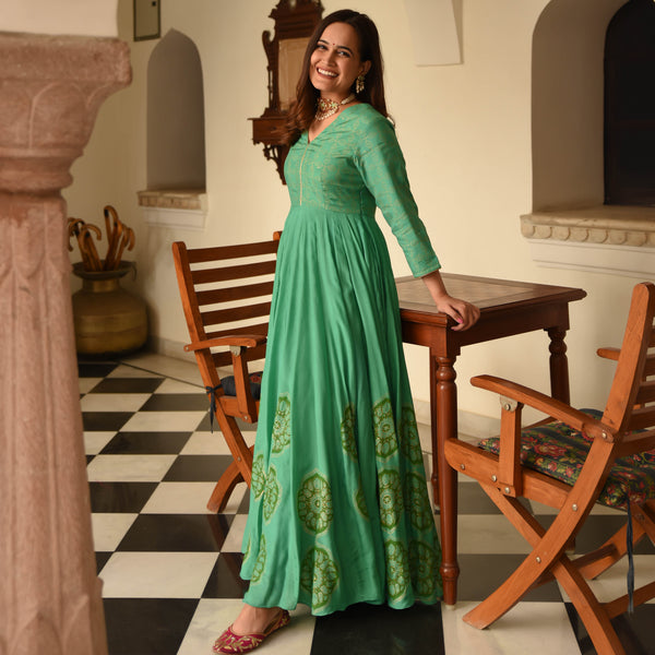 get amazing quality green cotton silk dress online